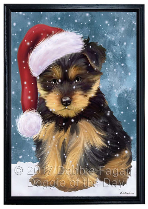Let it Snow Christmas Holiday Yorkshire Terriers Dog Wearing Santa Hat Framed Canvas Print Wall Art