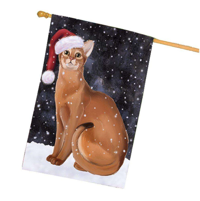 Let it Snow Christmas Holidays Abyssinian Cat Wearing Santa Hat House Flag FLG119
