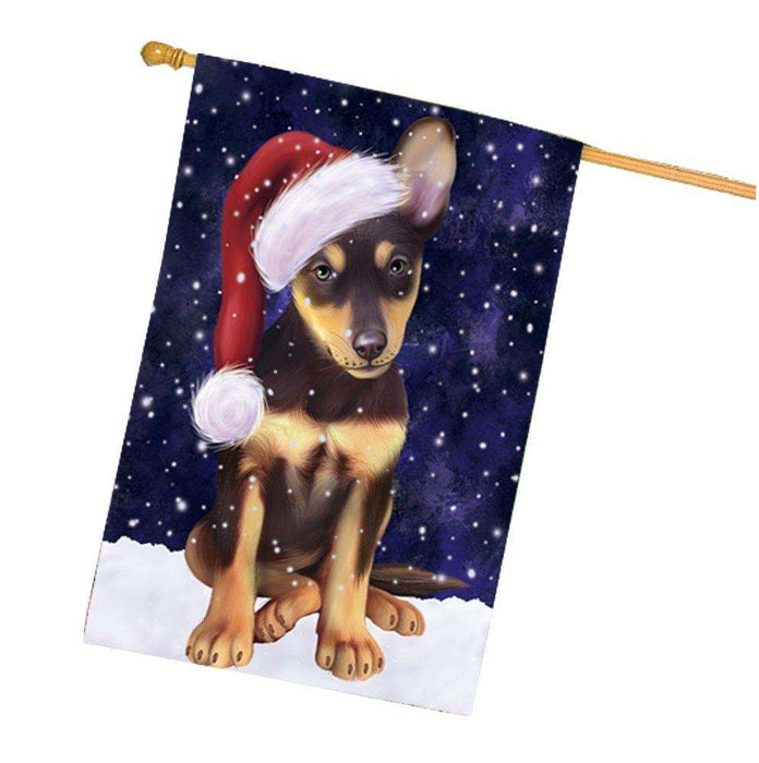 Let it Snow Christmas Holidays Australian Kelpie Dog Wearing Santa Hat House Flag FLG131