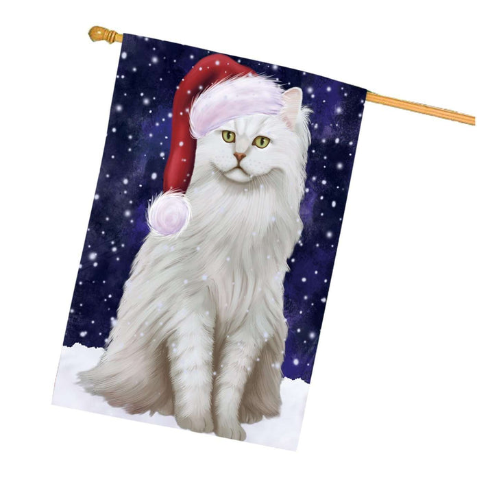 Let it Snow Christmas Holidays Chantilly-Tiffany Cat Wearing Santa Hat House Flag HFLG071
