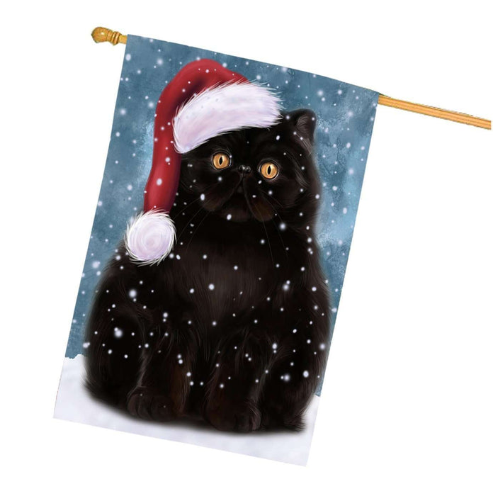Let it Snow Christmas Holidays Persian Cat Wearing Santa Hat House Flag HFLG042