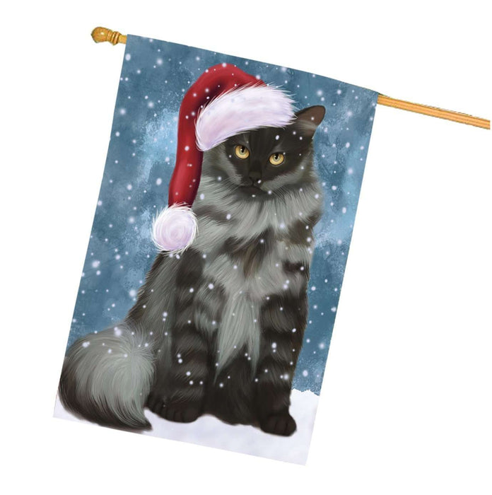 Let it Snow Christmas Holidays Siberian cat Wearing Santa Hat House Flag HFLG054