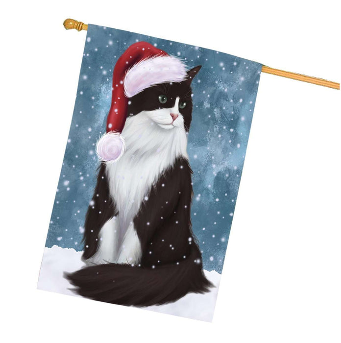 Let it Snow Christmas Holidays Tuxedo Cat Wearing Santa Hat House Flag HFLG075
