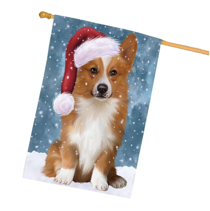 Let it Snow Christmas Holidays Welsh Corgi Dog Wearing Santa Hat House Flag HFLG079