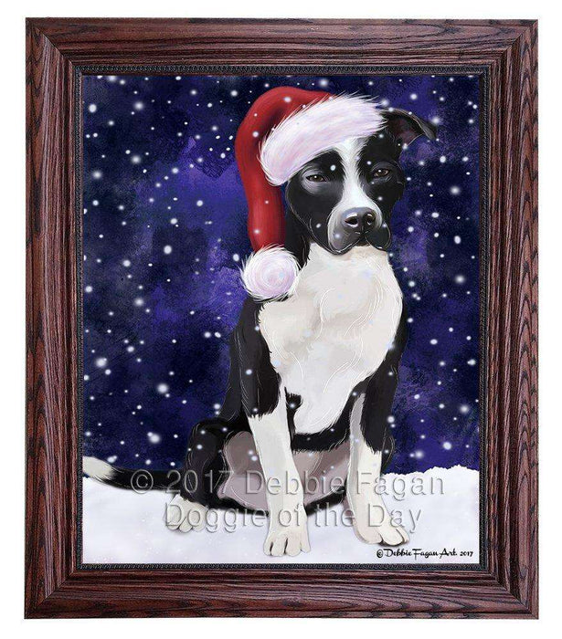 Let it Snow Christmas Pit Bull Dog Wearing Santa Hat Framed Canvas Print Wall Art D036