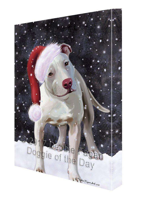 Let it Snow Christmas Pit Bull Dog with Santa Hat Canvas Wall Art