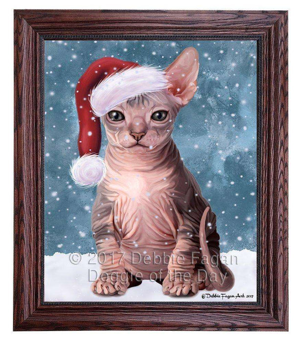 Let it Snow Christmas Sphynx Cat Wearing Santa Hat Framed Canvas Print Wall Art D050