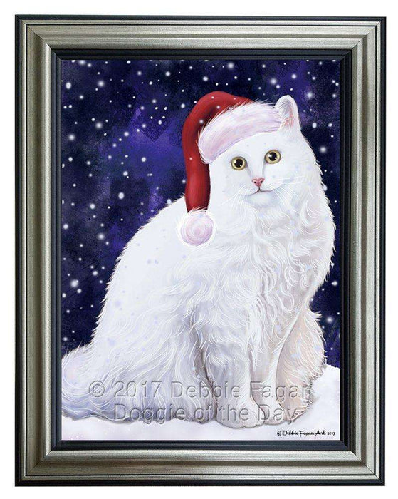 Let it Snow Christmas Turkish Angora Cat Wearing Santa Hat Framed Canvas Print Wall Art D065