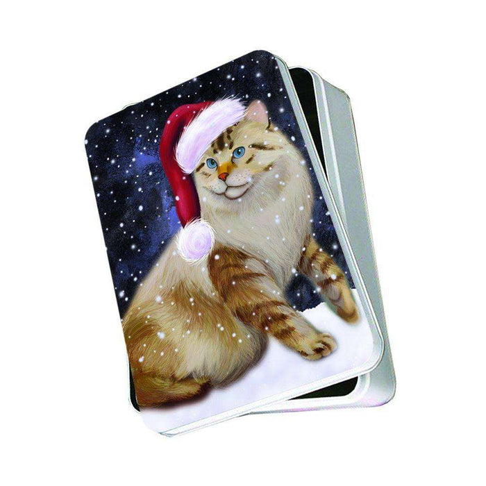 Let It Snow Happy Holidays American Bobtail Cat Christmas Photo Storage Tin PTIN0391