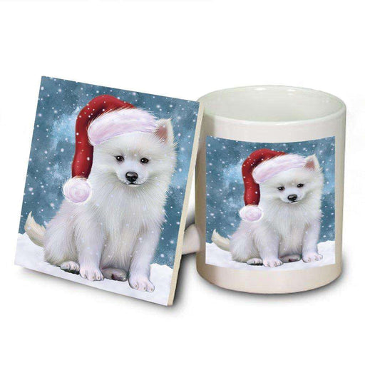 Let It Snow Happy Holidays American Eskimo Dog Christmas Mug and Coaster Set MUC0333