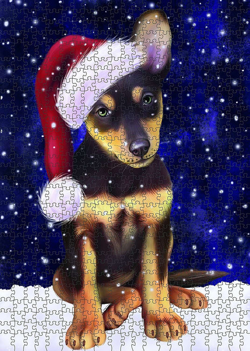 Let It Snow Happy Holidays Australian Kelpie Dog Christmas Puzzle with Photo Tin PUZL366