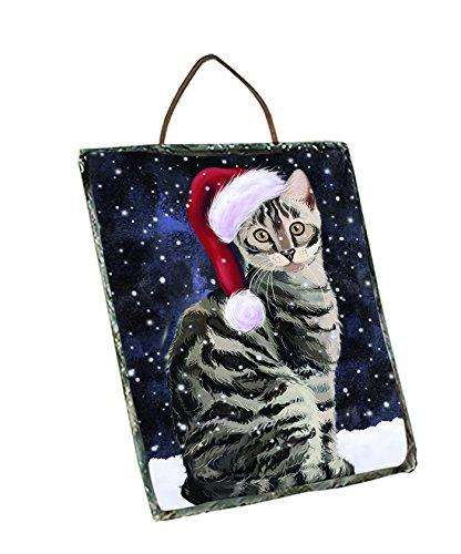 Let It Snow Happy Holidays Bengal cat Christmas Wall Décor Hanging Photo Slate SLTH402