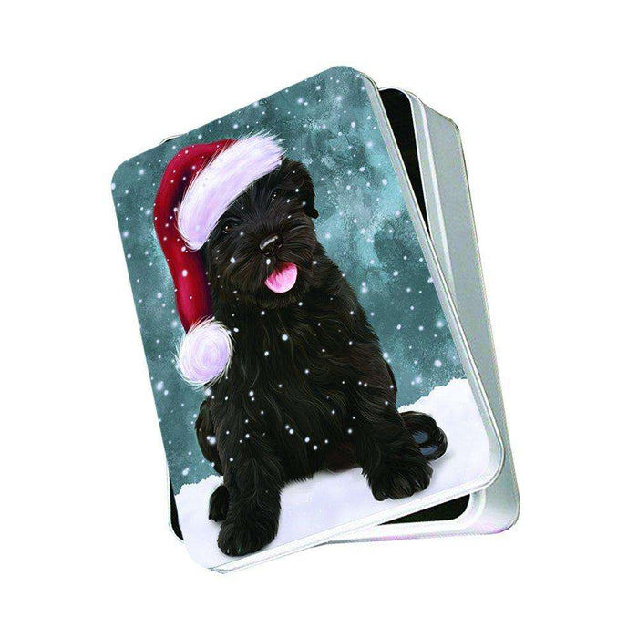 Let It Snow Happy Holidays Black Russian Terrier Dog Christmas Photo Storage Tin PTIN0412