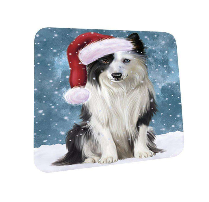 Let It Snow Happy Holidays Border Collie Dog Christmas Coasters CST303 (Set of 4)