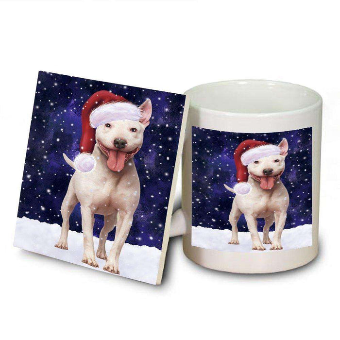 Let It Snow Happy Holidays Bull Terrier Dog Christmas Mug and Coaster Set MUC0360