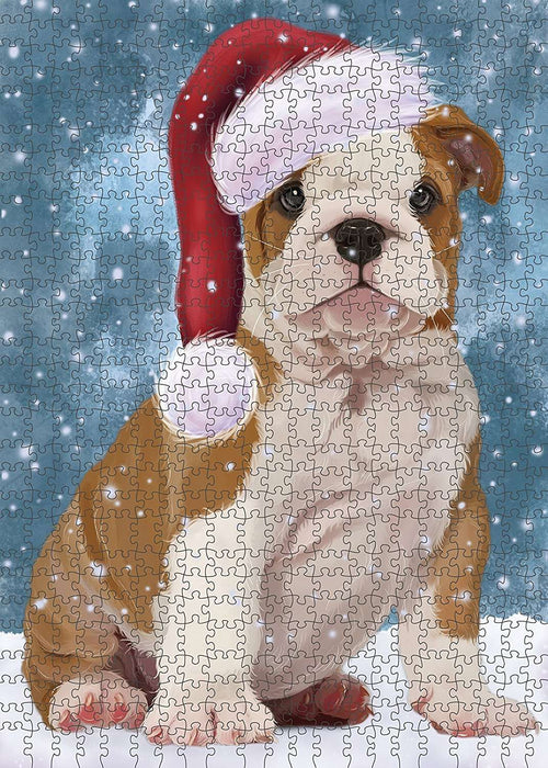 Let It Snow Happy Holidays Bulldog Puppy Christmas Puzzle with Photo Tin PUZL417