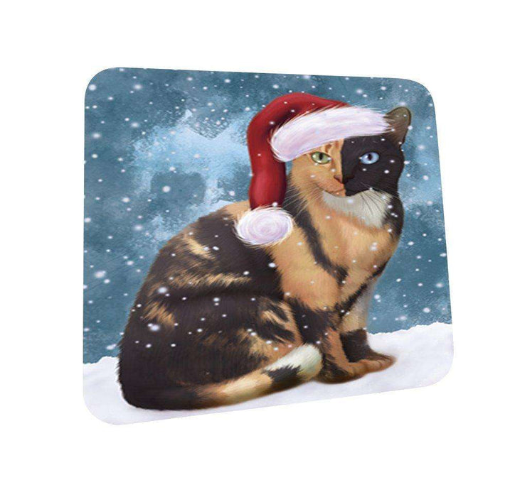 Let It Snow Happy Holidays Chimera Cat Christmas Coasters CST278 (Set of 4)