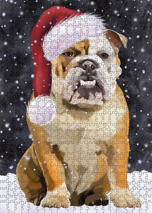Let It Snow Happy Holidays English Bulldog Christmas Puzzle with Photo Tin PUZL516