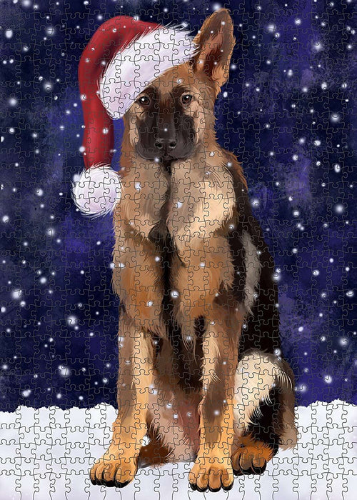 Let It Snow Happy Holidays German Shepherd Dog Christmas Puzzle with Photo Tin PUZL2118