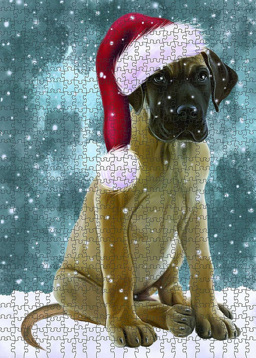 Let It Snow Happy Holidays Great Dane Dog Christmas Puzzle with Photo Tin PUZL567