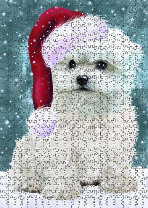 Let It Snow Happy Holidays Maltese Dog Christmas Puzzle with Photo Tin PUZL603