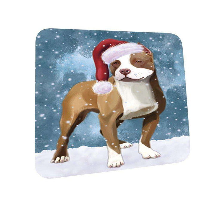 Let It Snow Happy Holidays Pit Bull Dog Christmas Coasters CST327 (Set of 4)