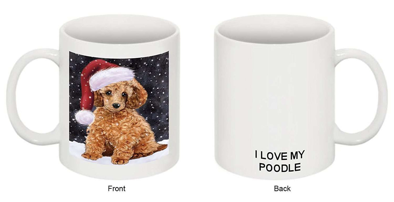 Let It Snow Happy Holidays Poodle Dog Christmas Mug CMG0315