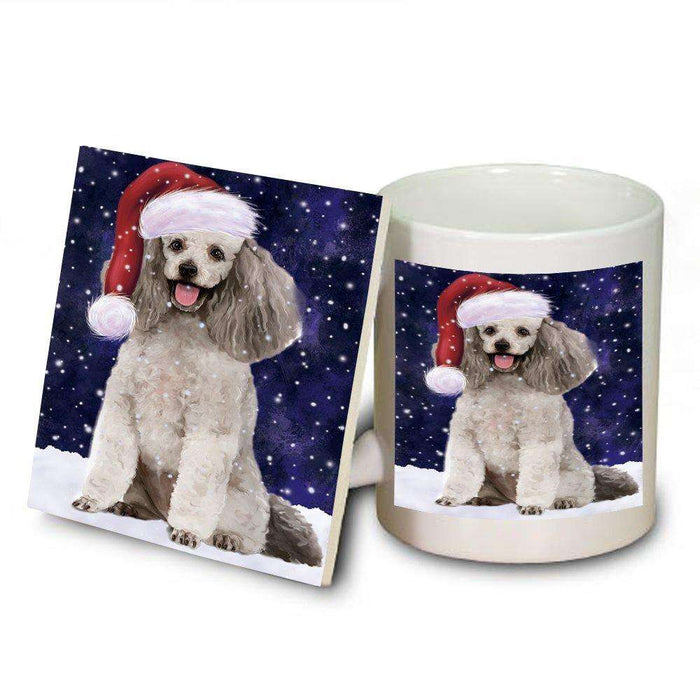 Let It Snow Happy Holidays Poodle Grey Dog Christmas Mug and Coaster Set MUC0294
