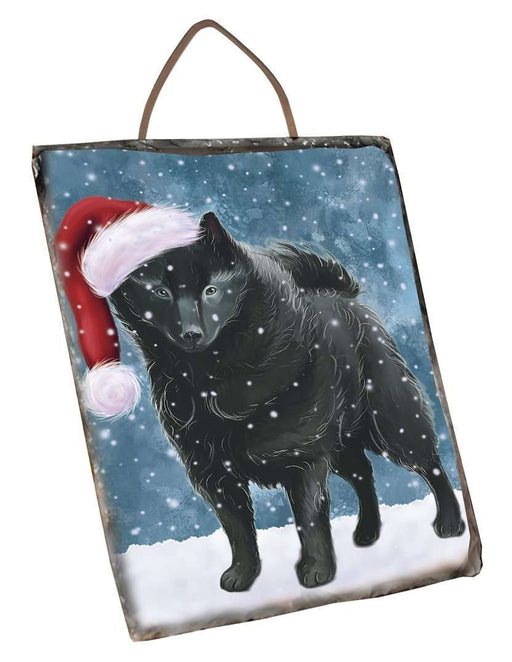 Let It Snow Happy Holidays Schipperke Dog Christmas Wall Décor Hanging Photo Slate SLTH304