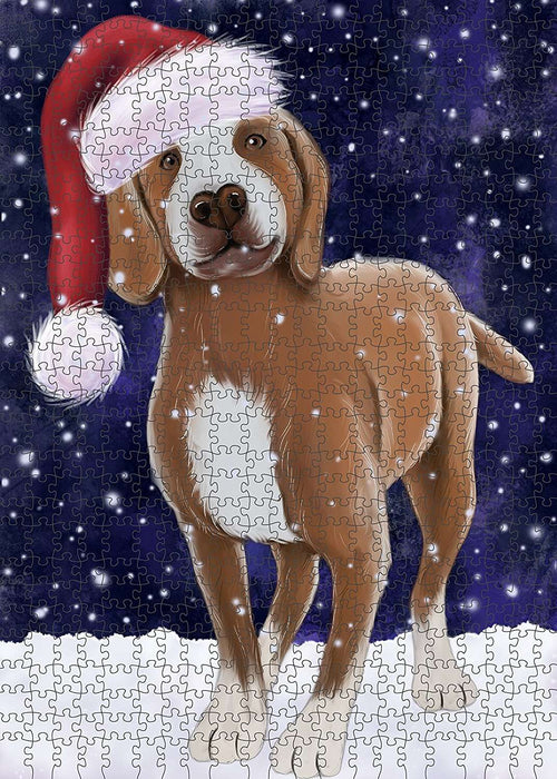 Let It Snow Happy Holidays Tarsus Catalburun Dog Christmas Puzzle with Photo Tin PUZL789