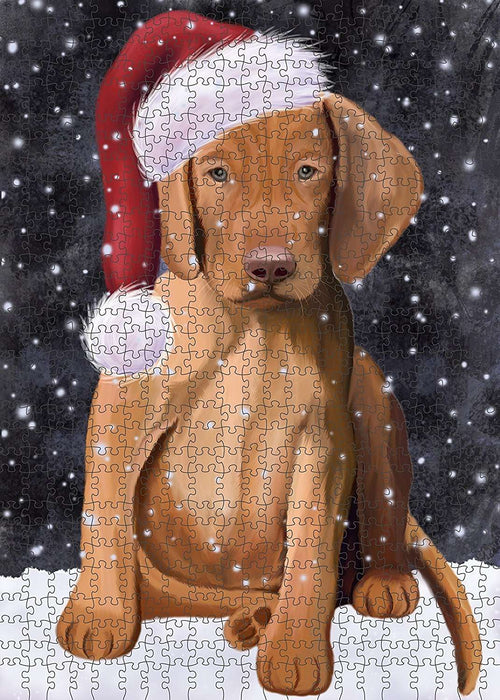 Let It Snow Happy Holidays Vizsla Puppy Christmas Puzzle with Photo Tin PUZL2259
