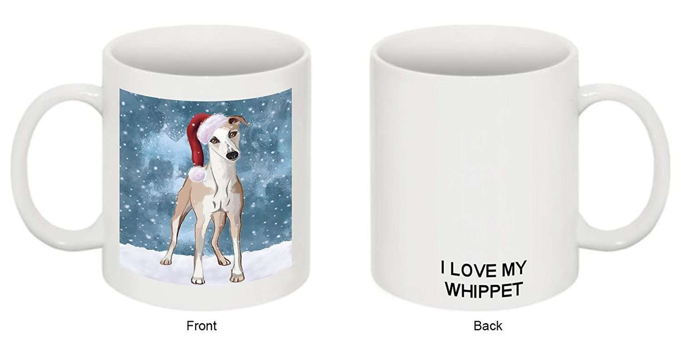 Let It Snow Happy Holidays Whippet Dog Christmas Mug CMG0339