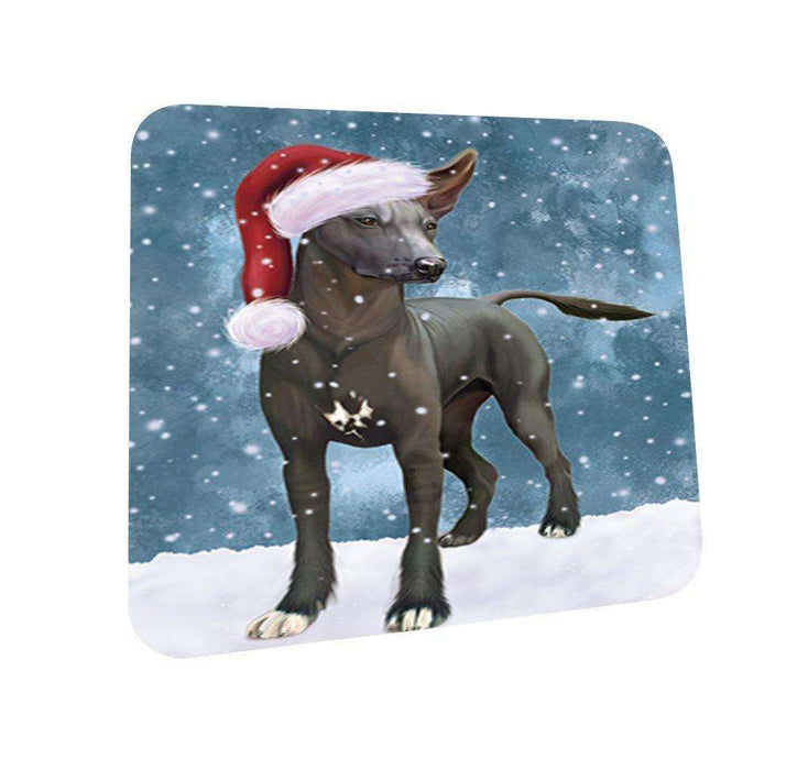 Let It Snow Happy Holidays Xoloitzcuintli Mexican Haireless Dog Christmas Coasters CST226 (Set of 4)