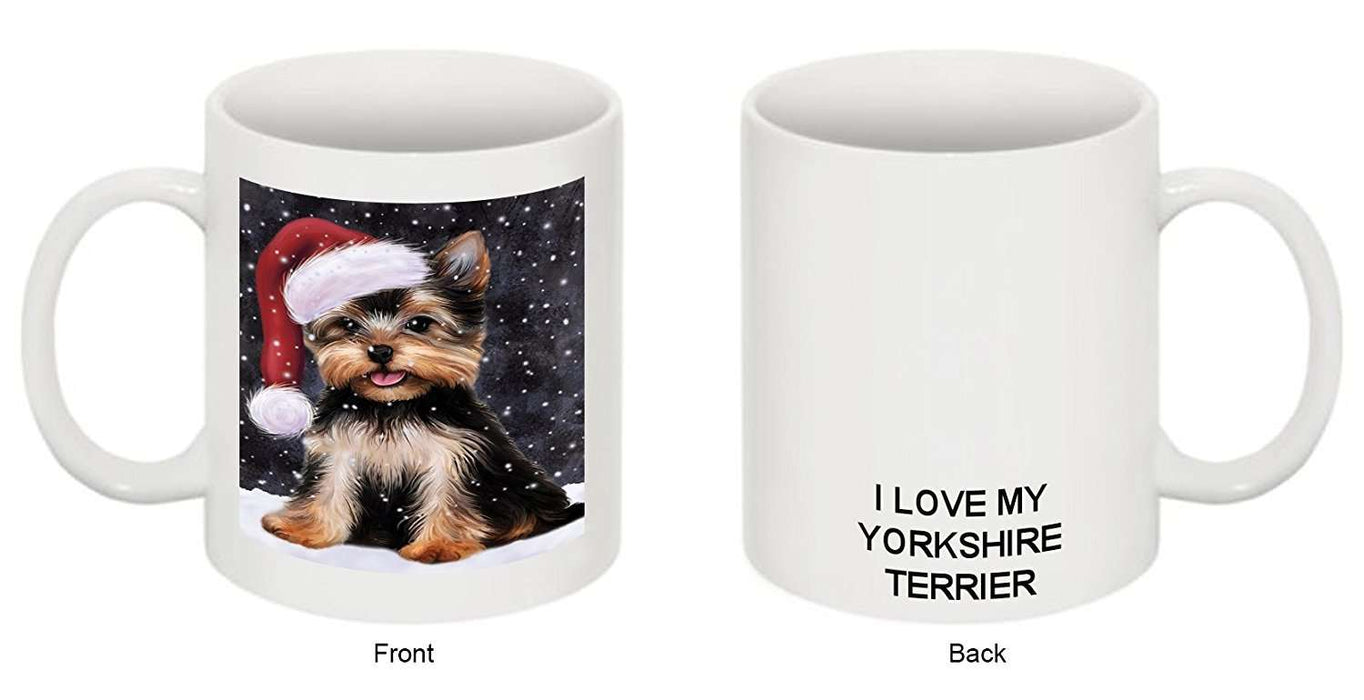 Let It Snow Happy Holidays Yorkshire Terrier Dog Christmas Mug CMG0344