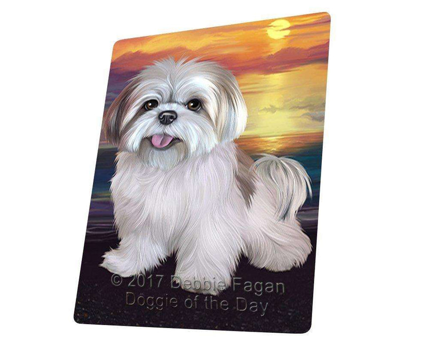 Lhasa Apso Dog Art Portrait Print Woven Throw Sherpa Plush Fleece Blanket D404