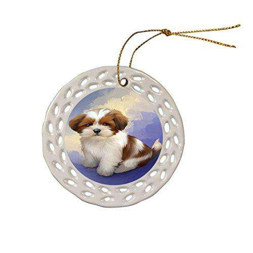 Lhasa Apso Dog Christmas Doily Ceramic Ornament