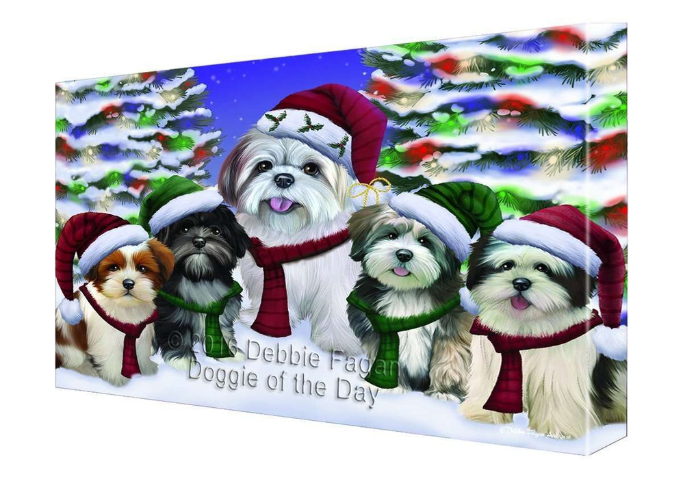 Lhasa Apso Dog Christmas Family Portrait in Holiday Scenic Background Canvas Wall Art