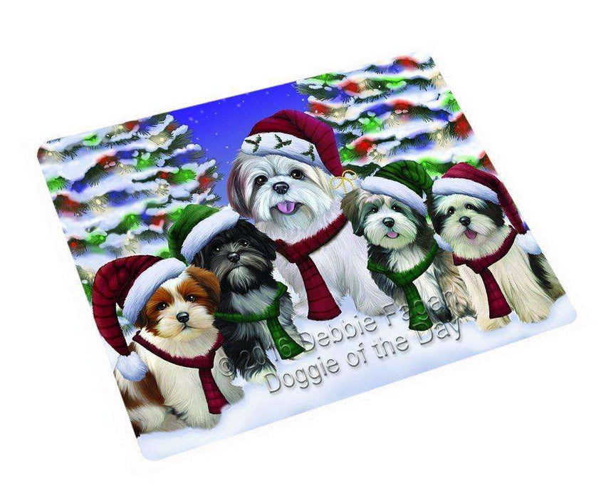 Lhasa Apso Dog Christmas Family Portrait in Holiday Scenic Background Large Refrigerator / Dishwasher Magnet D038