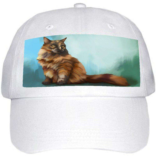 Long Haired Tortoiseshell Cat Ball Hat Cap Off White