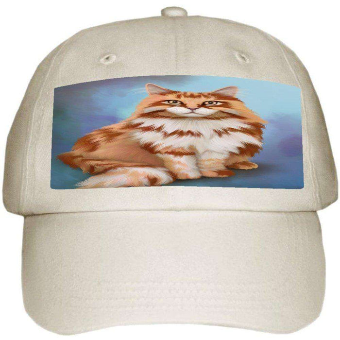 Maine Coon Cat Ball Hat Cap Off White