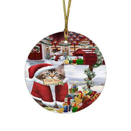 Maine Coon Cat Dear Santa Letter Christmas Holiday Mailbox Round Flat Christmas Ornament RFPOR53537
