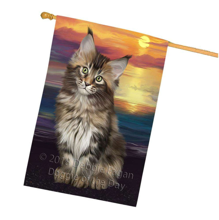 Maine Coon Cat House Flag FLG51892