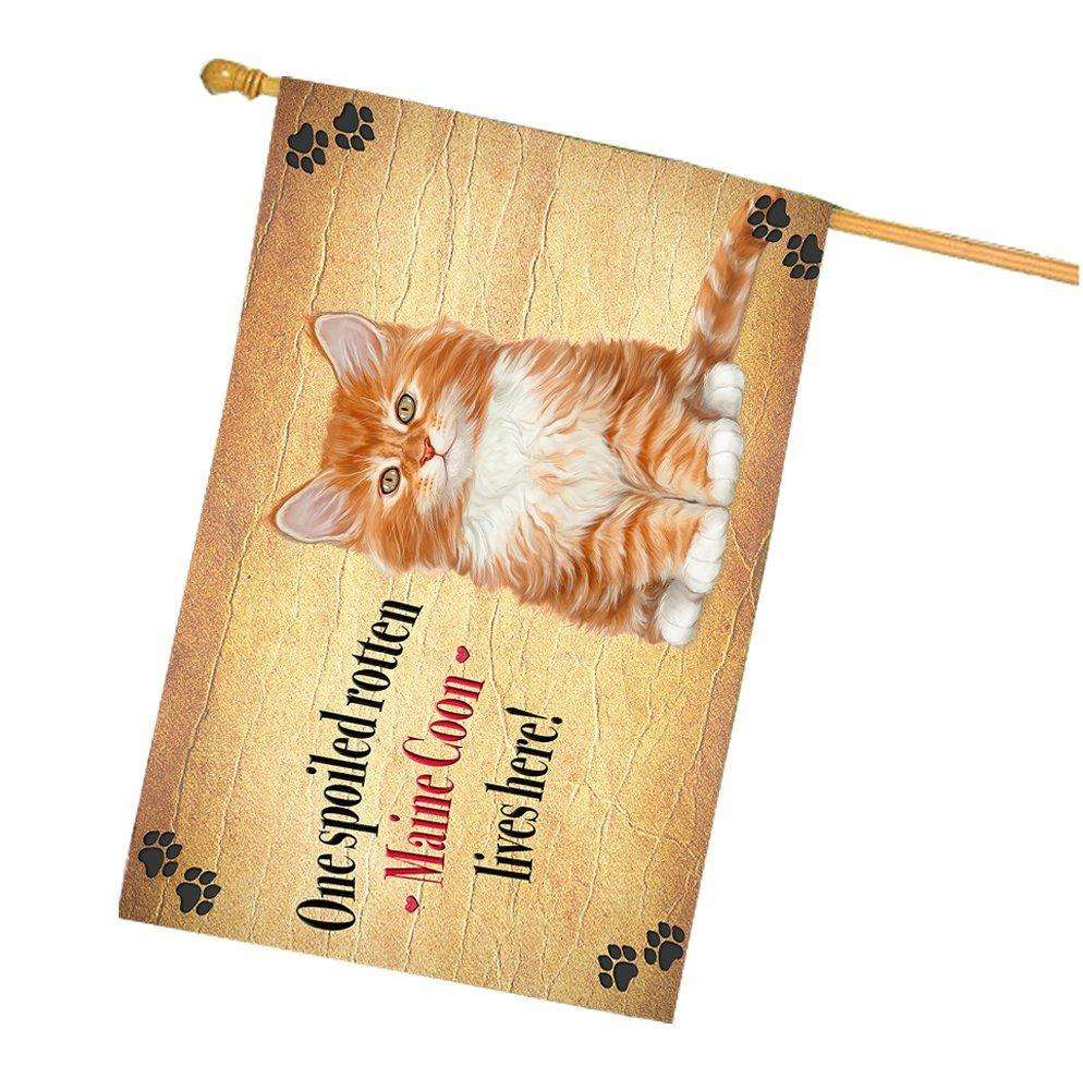Maine Coon Spoiled Rotten Cat House Flag