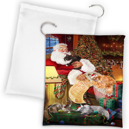 Santa Sleeping with Manx Cats Drawstring Laundry or Gift Bag LGB48825
