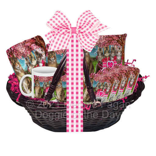 Mother's Day Gift Basket Maine Coon Cats Blanket, Pillow, Coasters, Magnet, Coffee Mug and Ornament