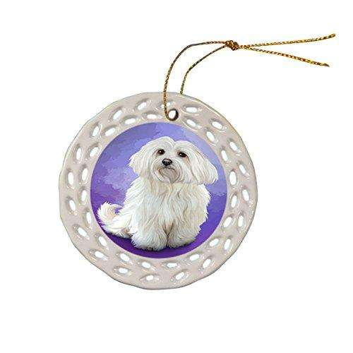 Maltese Dog Christmas Doily Ceramic Ornament