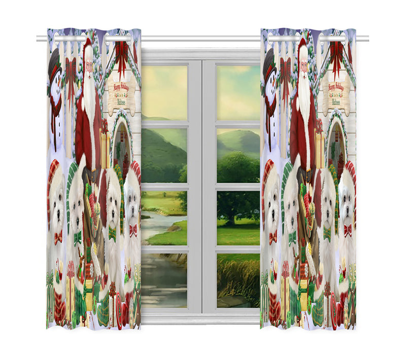 Happy Holidays Christmas Maltese Dogs House Gathering Window Curtain
