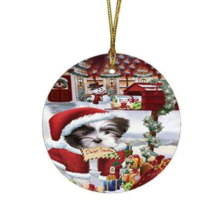Malti Tzu Dog Dear Santa Letter Christmas Holiday Mailbox Round Flat Christmas Ornament RFPOR53541