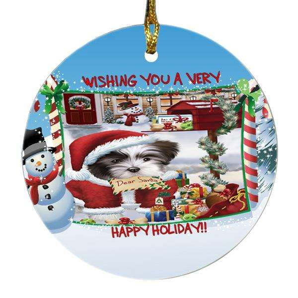Malti Tzu Dog Dear Santa Letter Christmas Holiday Mailbox Round Snowman Christmas Ornament SNORN48391