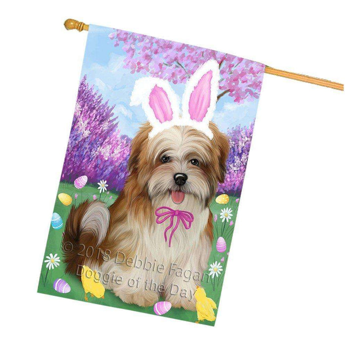 Malti Tzu Dog Easter Holiday House Flag FLG49286